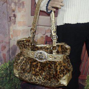 Kathy Van Zeeland Vegan Leopard Fur LARGE Tote Bag